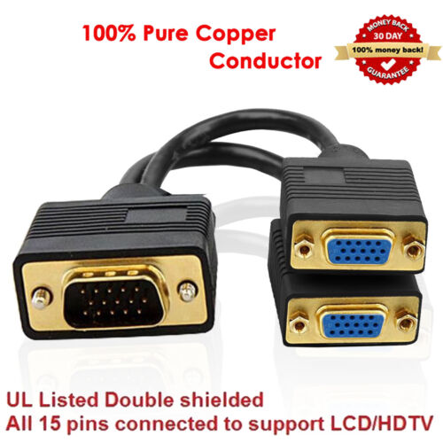 VGA 1 one Male to 2 Dual VGA Female Converter Splitter Gold Plated Y Cable Black