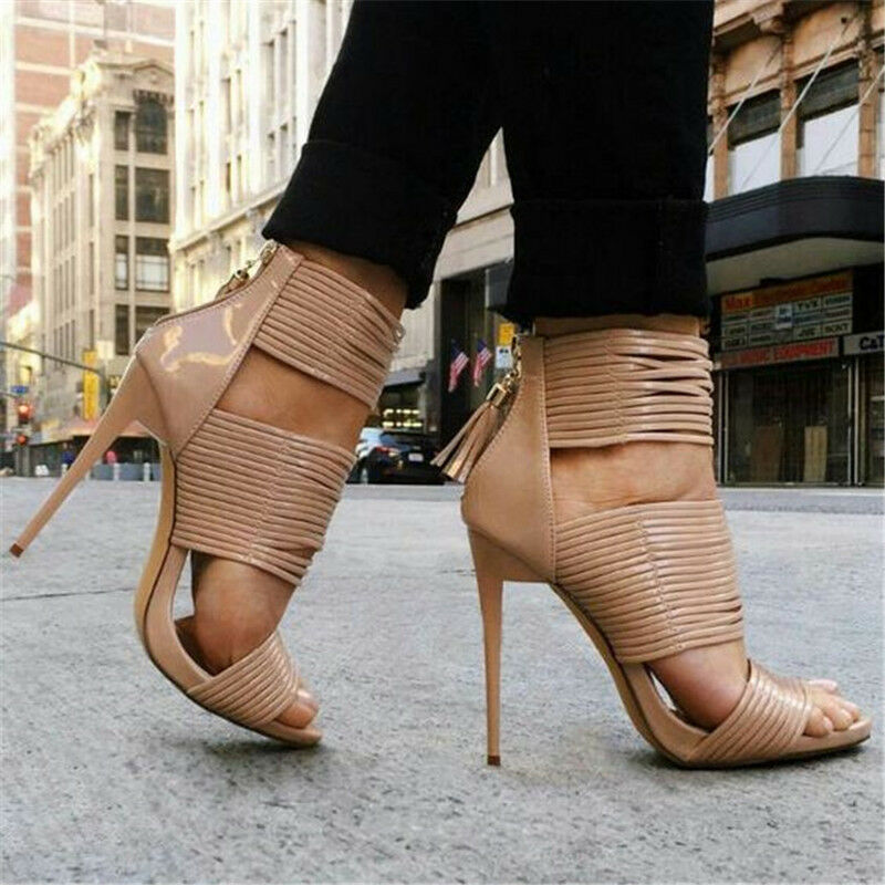 femmes High Heels Heels Heels Gladiator Stilettos Lace Up Hollow Out Party Sandals chaussures New 6be260