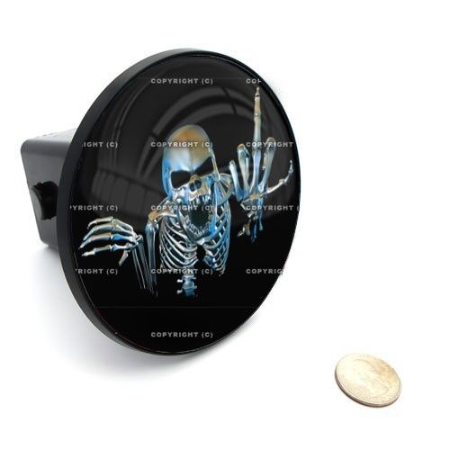 """2/"""" Tow Hitch Receiver Cover Insert Plug for Most Truck /& SUV SKULL MIDDLE FINGER"""