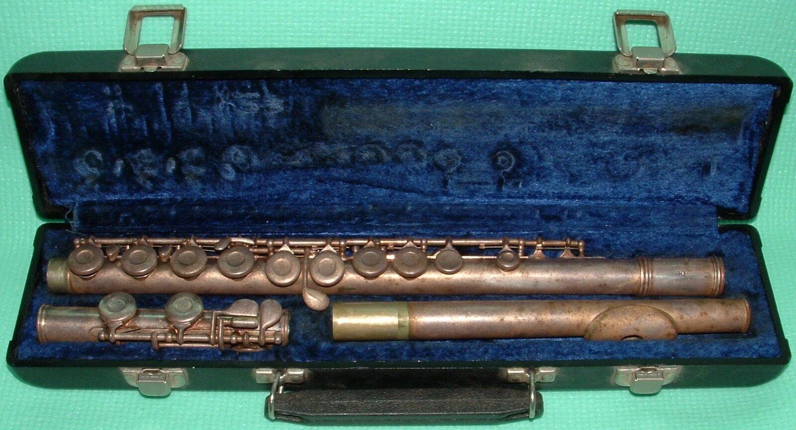 Vintage argentoo Elkhart Geminhardt M2 Flauto con Rigida Originale Custodia