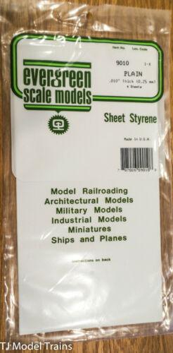 """Evergreen Styrene #9010 Styrene Sheet Plain 6 x 12/"""" 4 pkg We combine shipping"""