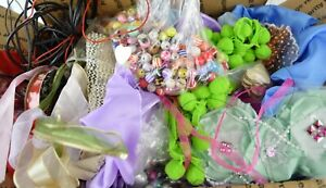 Large-3lb-Mixed-Lot-of-Craft-Items-Supplies-Art-Beads-Fabric-Strings-Wire-BX2