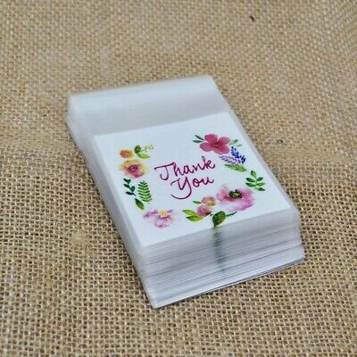 100pcs 4 Sizes Plastic Thank You Cookie Package Candy Bag Self-Adhesive UK