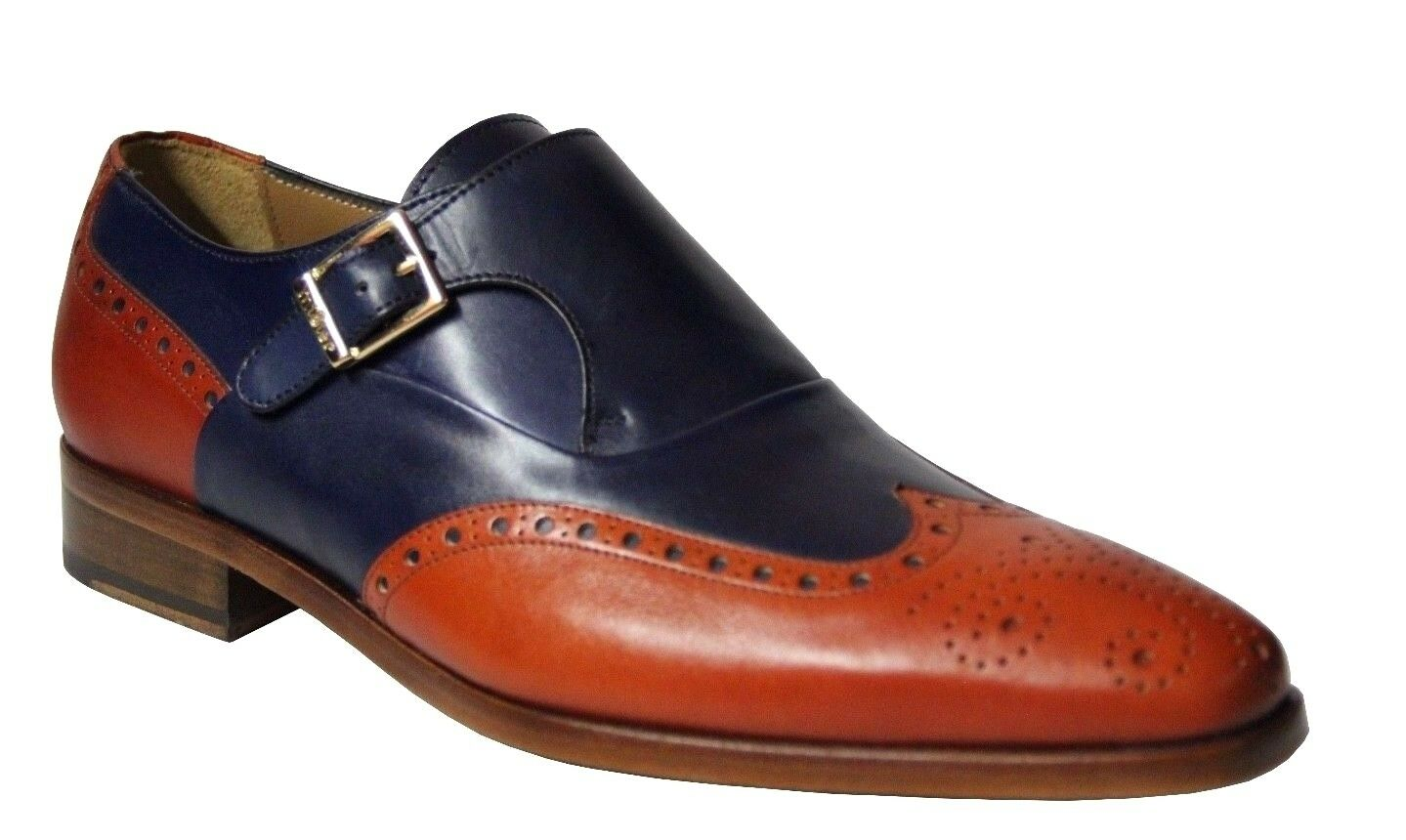 Mister Men's Single Monk Strap Navy Tan Leather Dress shoes 36873 Made In Spain