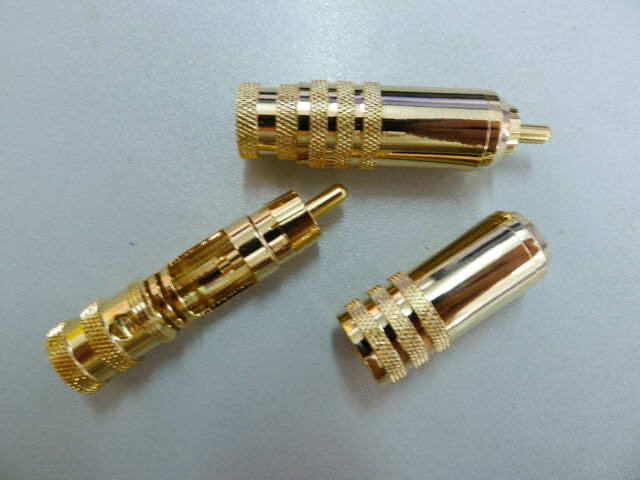 Lot-50, Interconnects Gold RCA LOCKING  AUDIO HOME/CAR AMP CONNECTOR PLUG,73