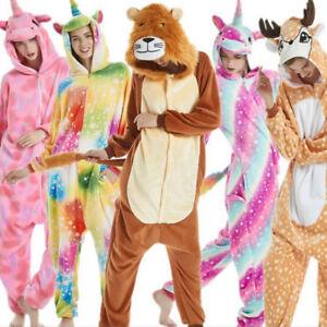 7a2a13788e Das Bild wird geladen Damen-Tier-Einhorn-Overalls-Nachtwaesche-Kigurumi -Fleece-Schlafanzug-