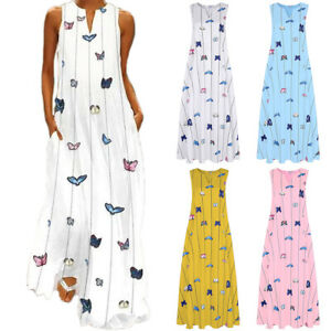 Women Long Dresses Ladies Sleeveless Loose Summer Casual V Neck Party Maxi Dress