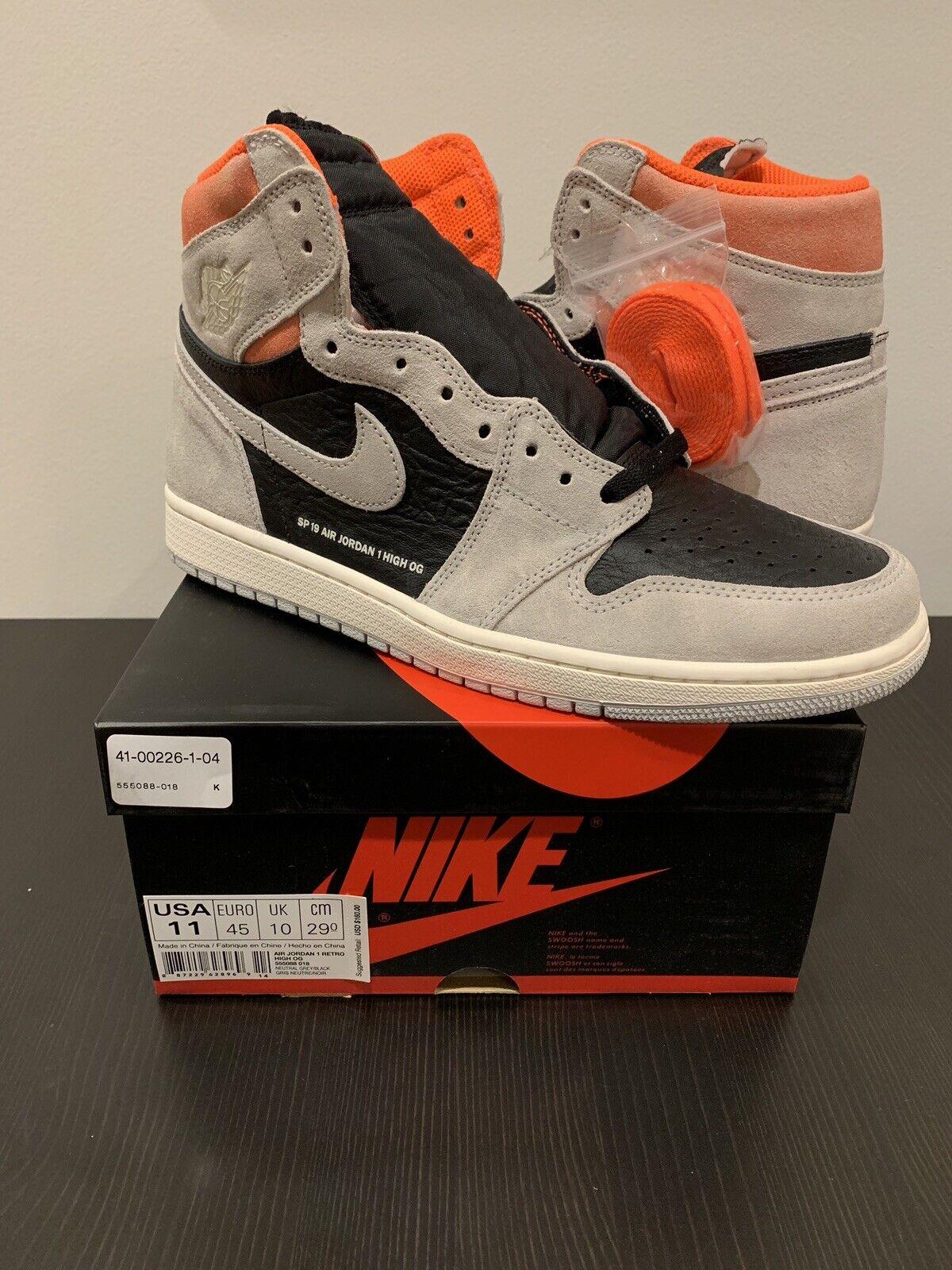 Nike Air Jordan 1 Retro High OG Grey Hyper Crimson Size 11 W Receipt 555088-018