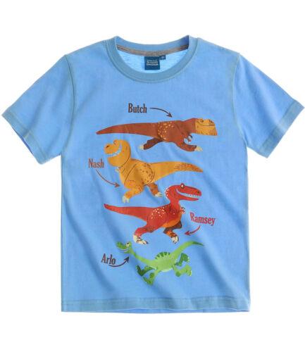 Boys T-Shirt Short Sleeve Top Paw Patrol Good Dinosaur Mickey Age 2-8 Cotton New