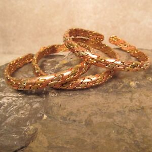 Set-of-3-Tibetan-Nepal-Copper-Brass-Braided-Unisex-Adjustable-Cuff-Bracelet