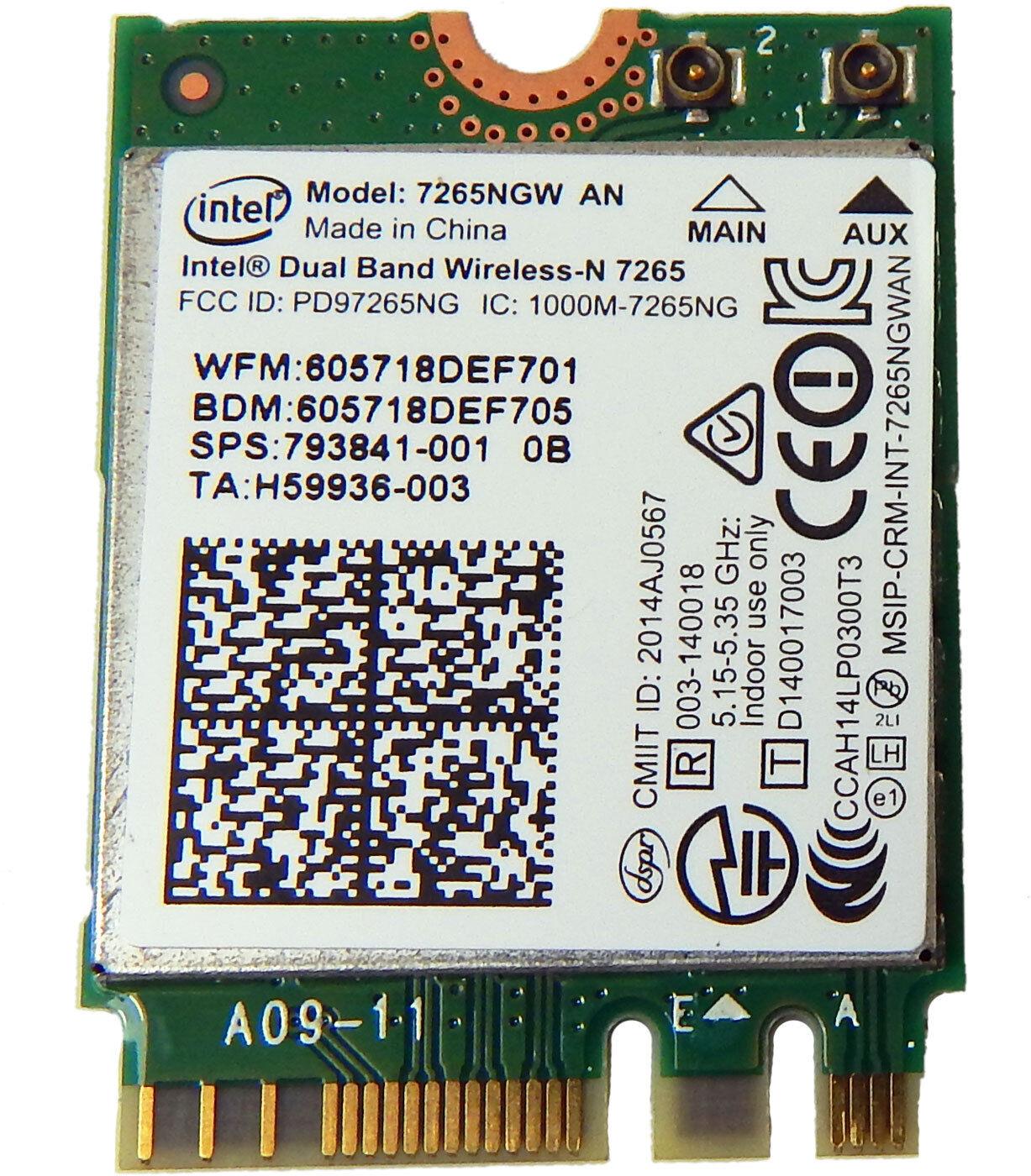 Intel 7265NGW AN WLAN M.2 2x2 WiFi BT4 Mod 793841-001 802.11ac wifi + Bluetooth