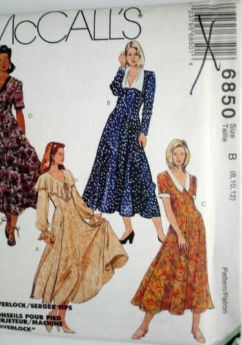 McCalls Sewing Pattern # 6850 Dresses w// Collar /& Sleeve Variations Choose Size