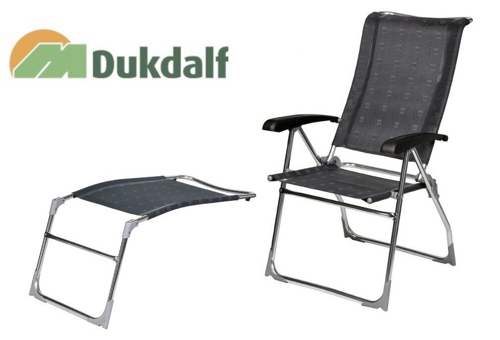Dukdalf Stuhl Aspen mit Fußteil Sampler Farbe 0677 anthrazit Campingstuhl