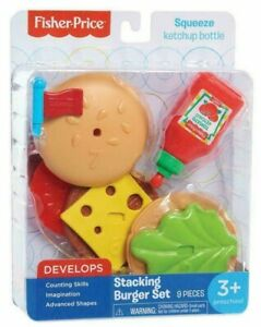 Fisher-Price-Stacking-Burger-Set-Pretend-Kitchen-Hamburger-Play-Food-Toy-9pcs