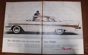 Original-Print-Ad-PLYMOUTH-FURY-V-800-1957-Pink-Car-2-pages-Vintage-Art