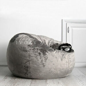 Fur Beanbag Charcoal Velvet Bean Bag Cover Grey Cloud Chair For Lounge Rumpus Ebay