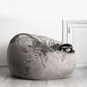 Fur Beanbag Charcoal Velvet Bean Bag Cover Grey Cloud
