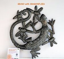 """HAITIAN METAL ART """"GECKO with DRAGONFLIES"""". Wall Plaque Handcrafted/Signed..FTO."""
