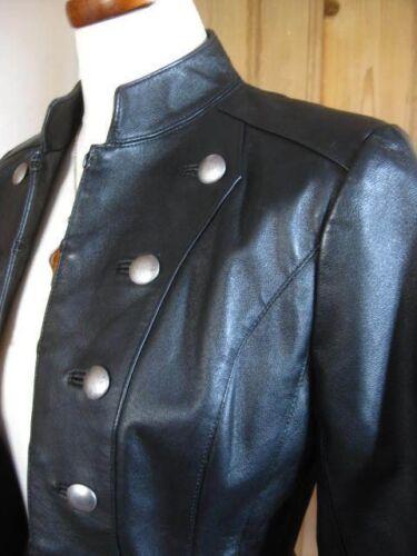 Petite chaqueta militar Black cuero caballerᄄᆰa abrigo Real Next Steampunk Uk6 de Ladies dB7x1cwX
