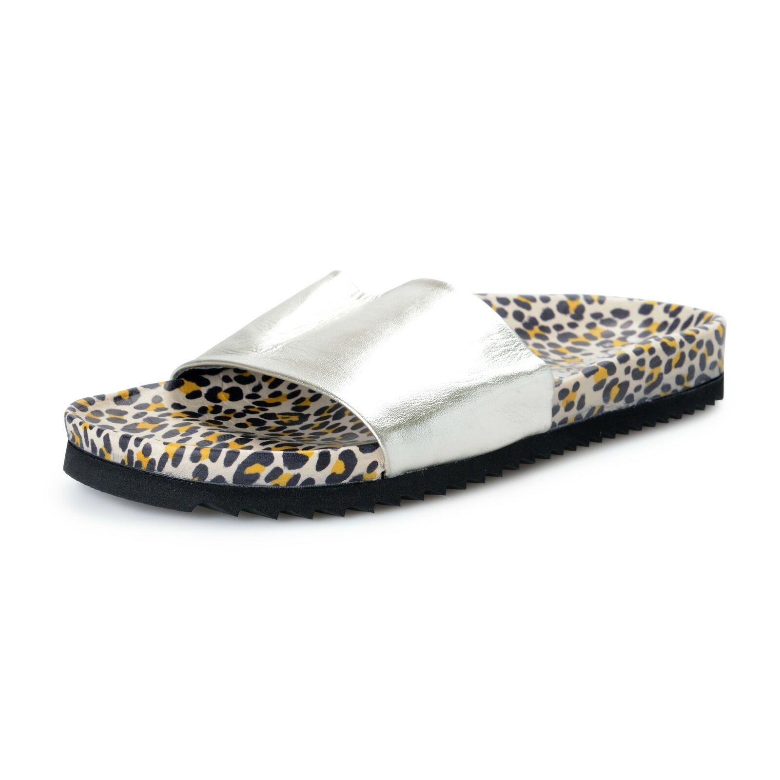 Just Cavalli Damen Leder Silber Zehentrenner Schuhe US 9 It 39