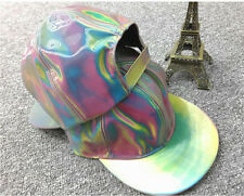 HT001 PVC Unisex Adjustable Rainbow Color Reflective Hologram Hat Baseball Cap