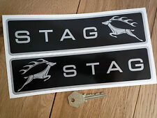 """TRIUMPH STAG 70's style Car Stickers Oblong Black & Silver 9"""" Handed Pair Vinyl"""