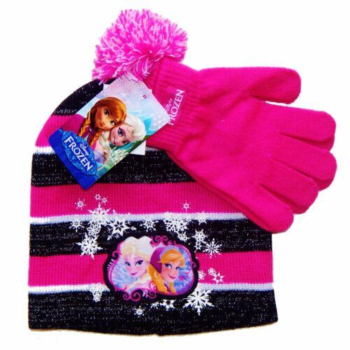 DISNEY FROZEN ANNA ELSA /&OLAF Girls Knit Winter Beanie Hat /& Gloves Sets NWT