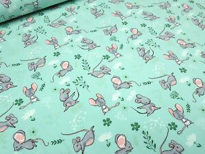 Stoff-Baumwolle-Jersey-Maus-Maeuse-mint-gruen-weiss-rosa-braun-Kinderstoff