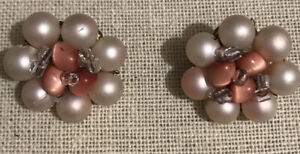 Vintage Pearlized Beaded With Pink Accents Clip Earrings