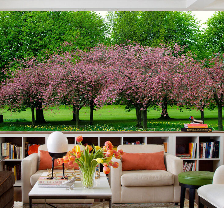 3D Green, pink trees Wall Paper Wall Print Decal Wall Deco Indoor wall Murals