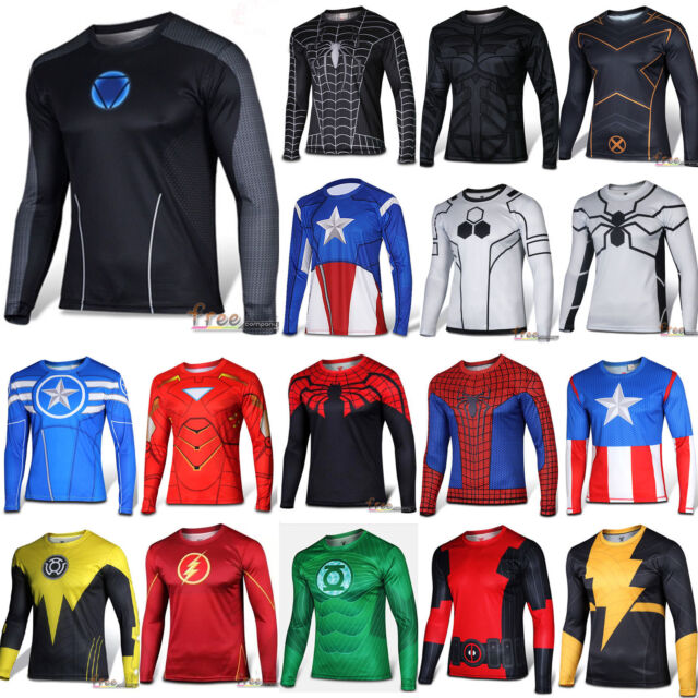 Mens Casual Long Sleeve T-shirt Compression Marvel Superhero Tops Fit Sportswear