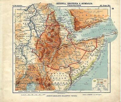 Cartina Eritrea.Carta Geografica Antica Etiopia Eritrea Somalia Colonie Italia 1914 Antique Map Ebay