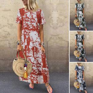 Mode-Femme-100-coton-Loisir-Robe-Imprimer-Manche-Courte-Dresse-Longue-Plus