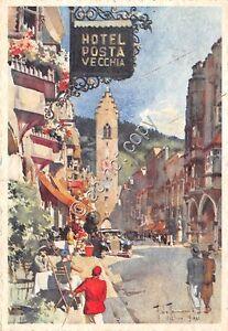 Cartolina-Postcard-Illustrata-Raimondi-Vipiteno-Hotel-Posta-Vecchia