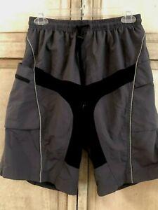 SANTIC Cycling Baggy Casual Shorts Bike Sports Short Pants with Padded Black