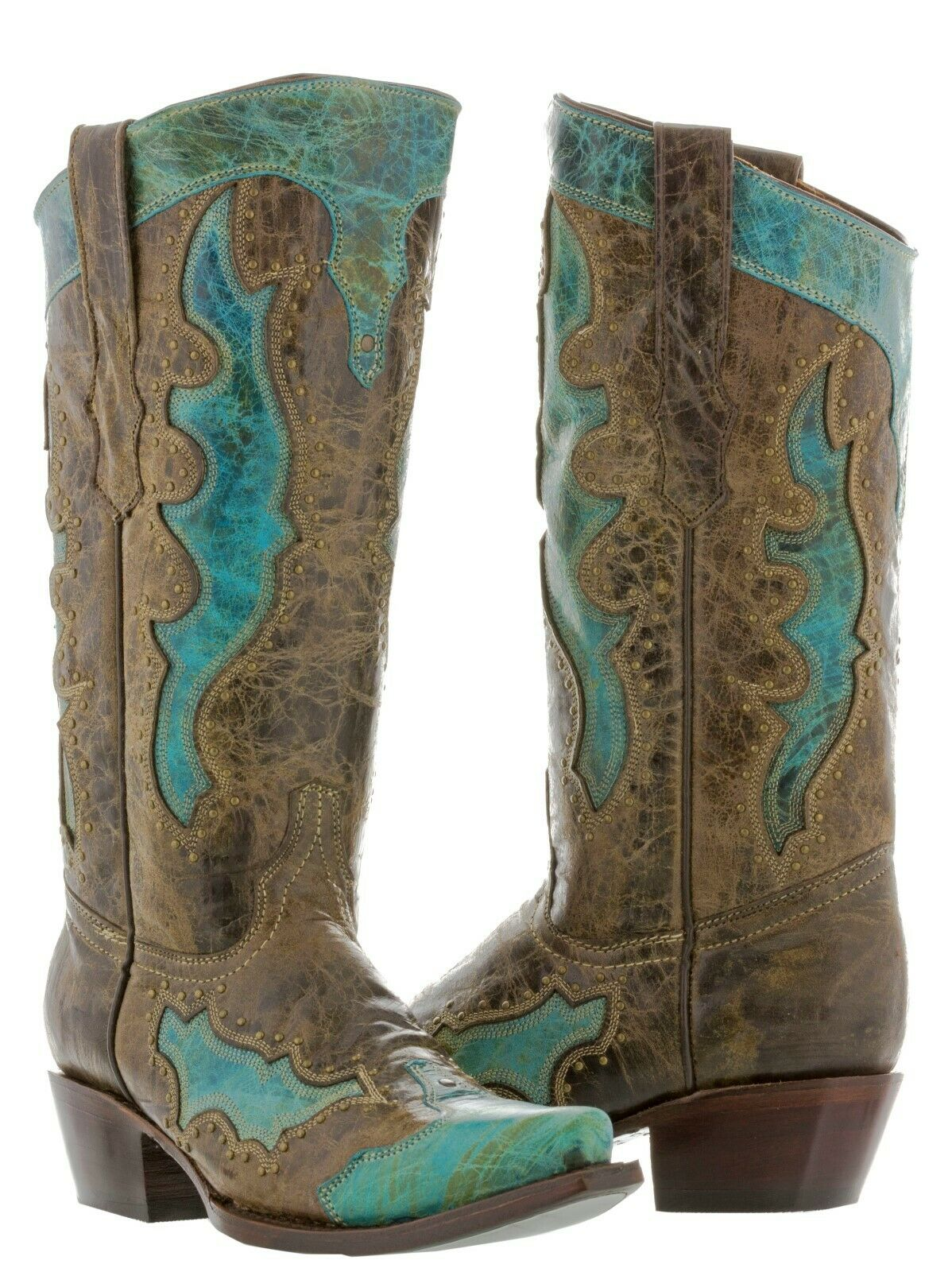 Cowboy Professional Genuine Leather Leather Leather Western Boots Point Toe Studs Turquoise d36178