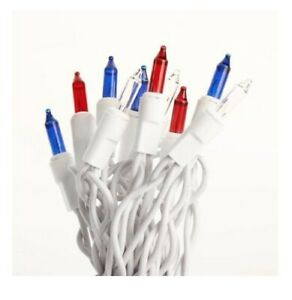 Patriotic Light Set String Strand Red White Blue Bulbs