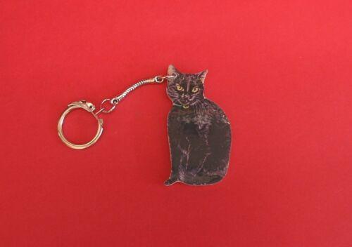 Black Cat Wooden Keyring Good Luck Gift Father Mother Vet Christmas gift