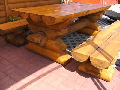 Aus Dem Ausland Importiert Top 2m-rbsg Rundbohlen Garten Sitzgarnitur Tisch 2 Bänke Biergarten Sitzgruppe Quell Sommer Durst