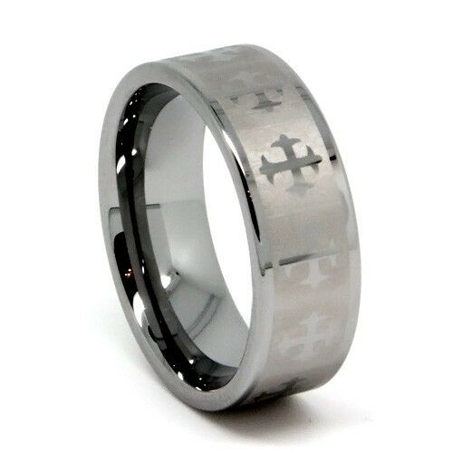 Men's Tungsten Wedding Ring, Chrome Colored Gothic Cross Inlay, 8MM for Him!
