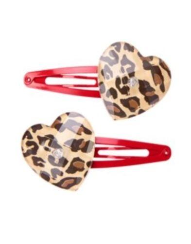 GO GYMBOREE READY LEOPARD HEART HAIR BARRETTE 2-CT NWT DRESS