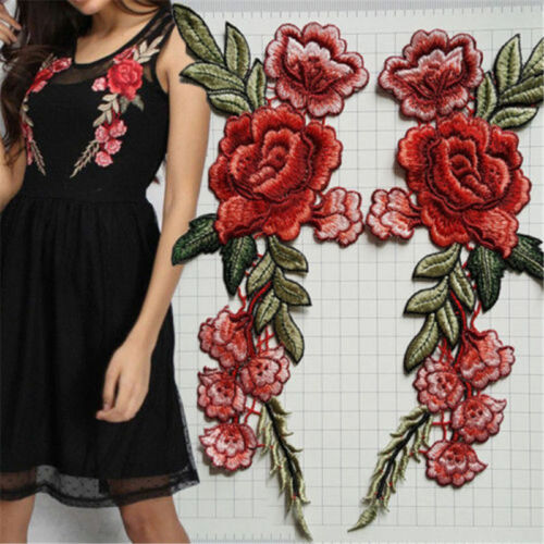 Rose Flower Embroidered Applique Badge Floral Collar Sew On Patch Dress Craft