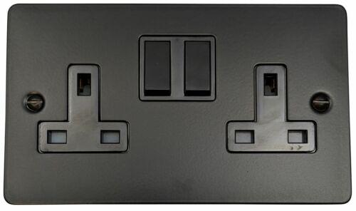 G/&H FFB10B Flat Plate Matt Black 2 Gang Double 13A Switched Plug Socket