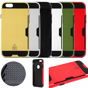 detailed look 1afa2 c17b8 Details about iPhone 6/6S Gorilla Tech Case Card Slot Cover + Tempered Glass