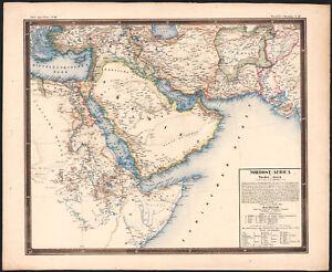Carte De Lafrique Et Moyen Orient.1858 Rare Carte Lithographie Corne De L Afrique Egypte Moyen Orient