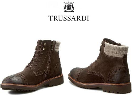 £199 TRUSSARDI Men Scarponcino Knee High Suede Leather Boots UK 8//EU 42 Coffee
