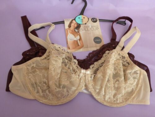 Marks /& Spencer 32B 32D 36B new two pack brown-mix Louisa Lace full cup bras
