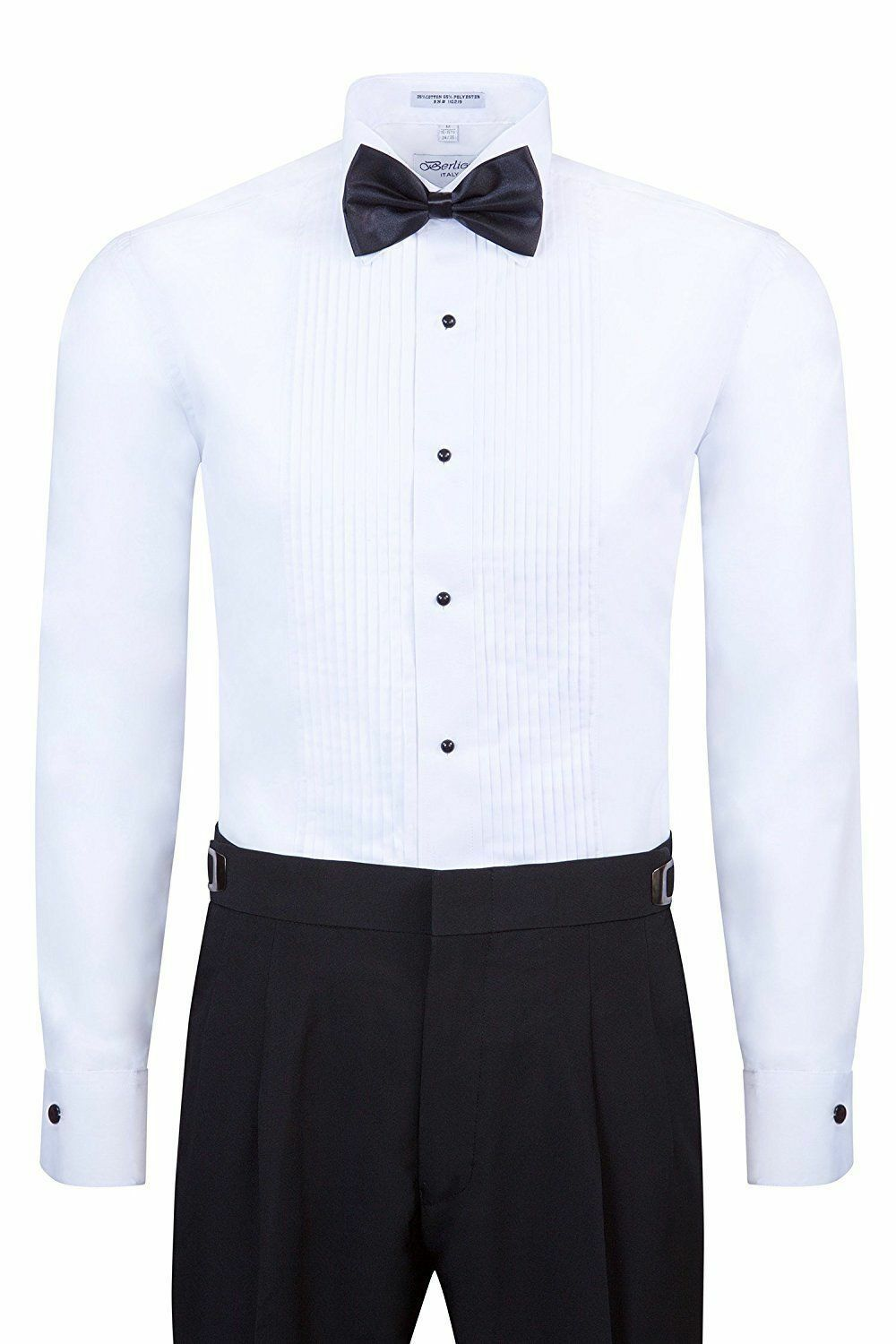 Berlioni Men/'s White Formal Tux Tuxedo Dress Shirt Bow Tie Included 2 Collars