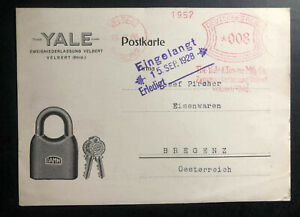 1928-Velbert-Germany-Meter-Cancel-Postcard-Advertising-cover-to-Austria-Yale-Co