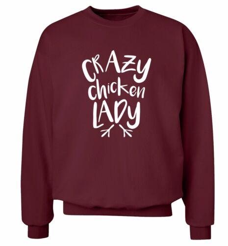 Crazy Chicken Lady Sweat à Capuche//Sweat-shirt animal Pet Love poule coq fermier 1839